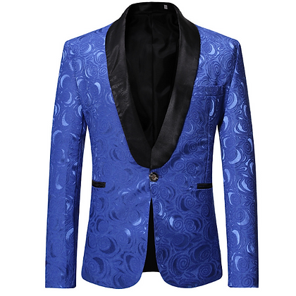 Men's floral slim fit royal blue party tuxedo suit