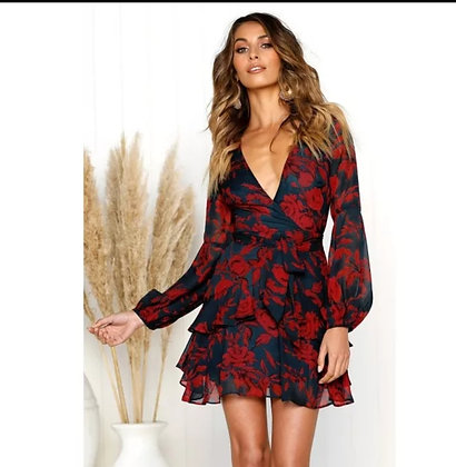 Belted floral long sleeve dress with ruffle details