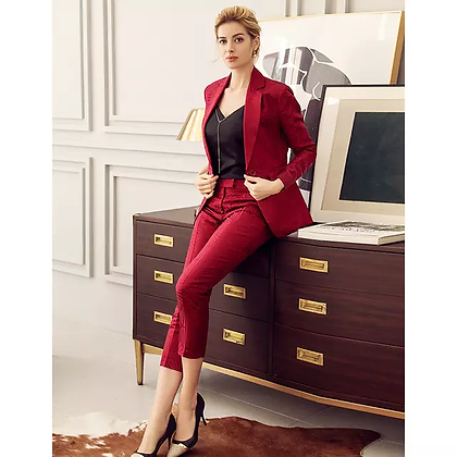 Women's red quilted 2-piece pants and blazer suit