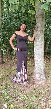 Black off shoulder embellished mermaid evening party dress