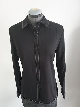 Ladies' black embellished long sleeve button down chiffon shirt