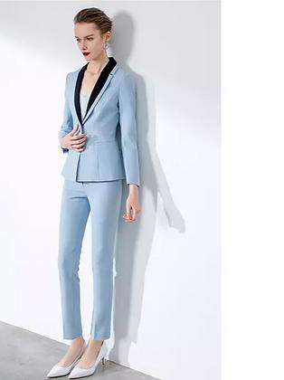Women's sky blue 2-piece pants suit