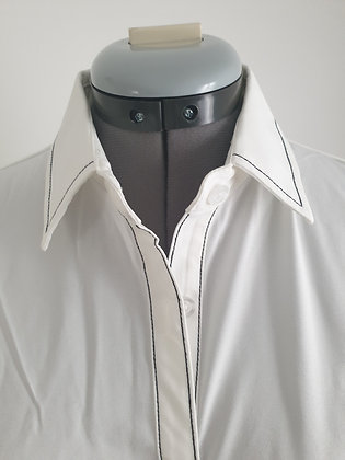 Ladies' embellished white chiffon long sleeve button down shirt
