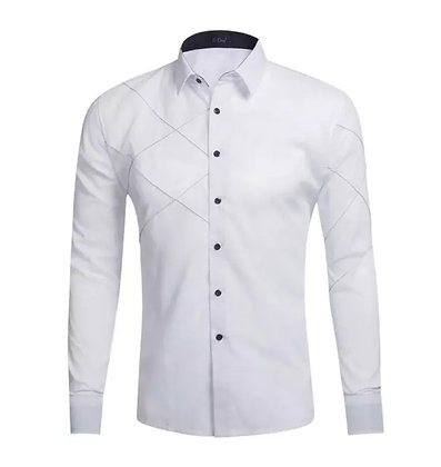 Mens formal cotton white shirt with lattice detail. Black white button down