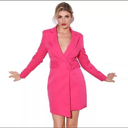 Neon pink asymmetrical belted blazer