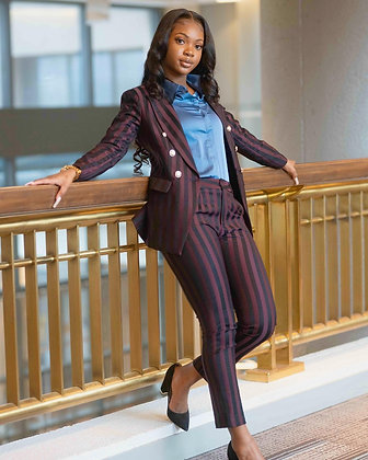 Ladies stripped 2 piece pants and blazer suits in burgundy, navy blue or black.