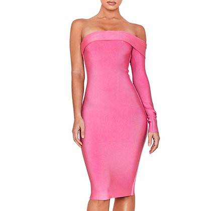 Pink one sleeve midi bandage evening party dress