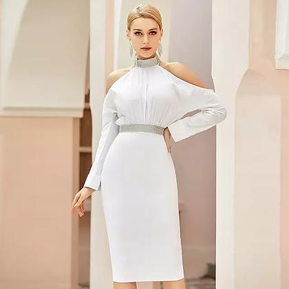 Elegant white turtleneck cut out bandage dress