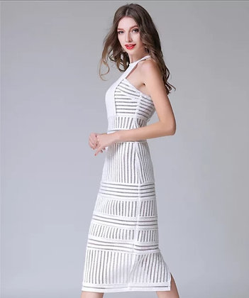 White urban ribbed net-stripped midi dress