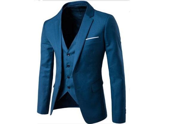 Men's cotton 3 piece suit - teal, turquoise
