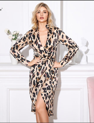 Long sleeve leopard print belted wrap dress