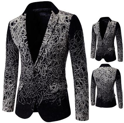Men's black n white party suit with knit details
