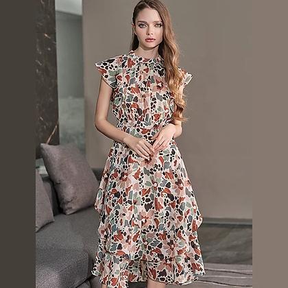 Ruffled floral print summer dress
