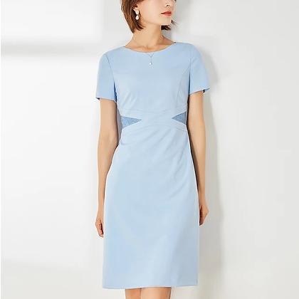 Take me anywhere sky blue lace detail A-line dress