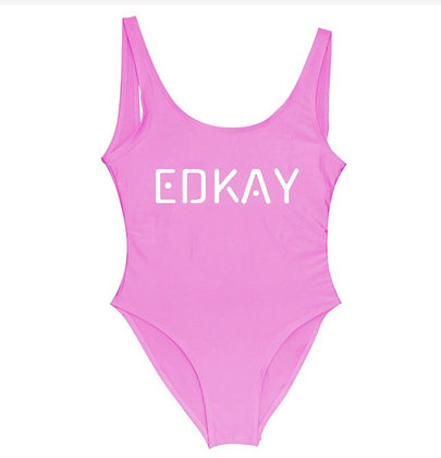 EDKAY neon pink one piece open back swimsuit