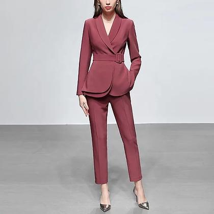 Ladies peach two-piece pants and blazer suit set
