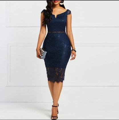 Navy blue slash v-neckline lace dress