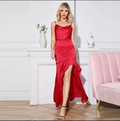 Red ruffle asymmetrical hem maxi strap dress