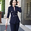 Thumbnail: Ladies stripped 2 piece pants and blazer suits in burgundy, navy blue or black.