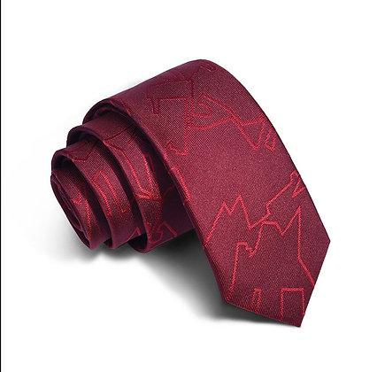 Men's embossed burgundy slim 6cm silk tie