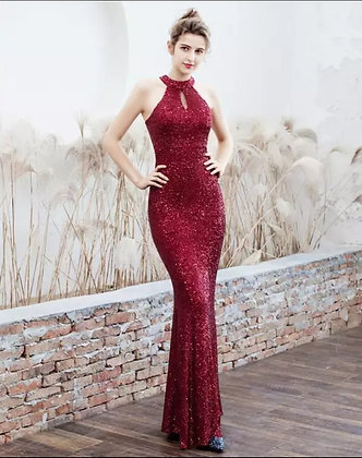 Red sequin halter cut out neckline mermaid evening dress with belt