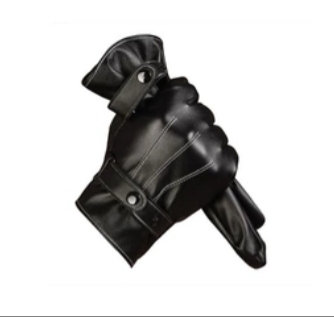 Black fur lined fx leather touch screen gloves