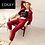 Thumbnail: Women's red quilted 2-piece pants and blazer suit