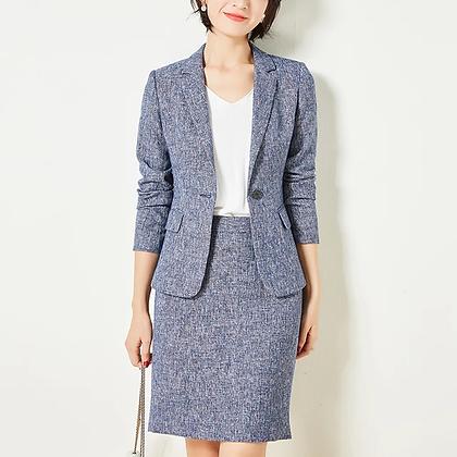 Ladies denim blue all season 2-piece blazer and skirt suit set