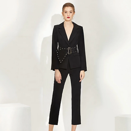 Ladies two-piece midi pants and belted blazer suit set