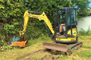 Yanmar Excavator with Mulcher Flail