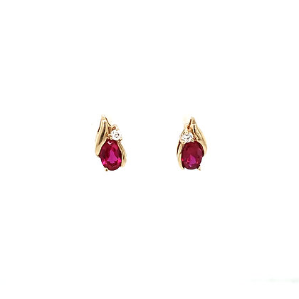 Ruby and CZ earrings