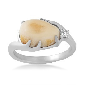 Sterling Silver and Elk Ivory Ring