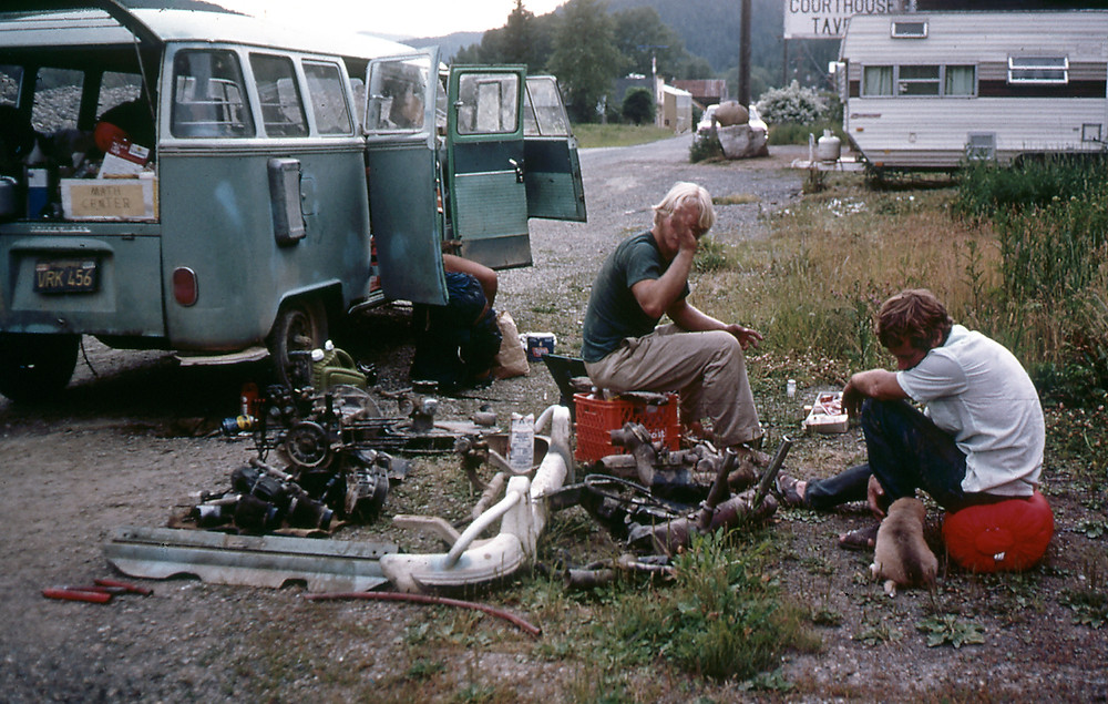 Mark Moore and friends broken down Volkswagen on the side of the road somewhere in Washington state.