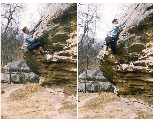 John Gill bouldering in Dixon Springs, Illinois circa1964. Photo courtesy John Gill.