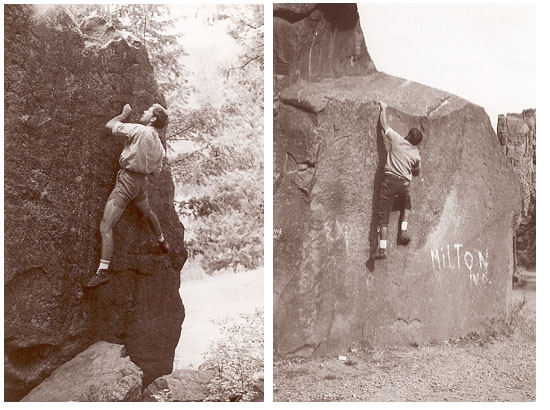 John Gill Bouldering in Eldorado Canyon, Colorado circa 1960s. Photo courtesy John Gill.