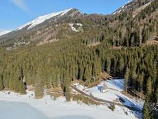 Ingeringsee im Winter Kapelle Luftbild