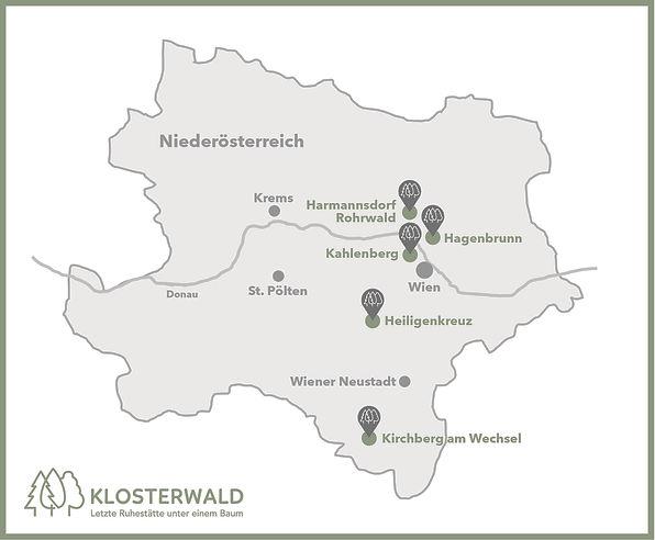 Lage der Klosterwälder in Niederösterrei