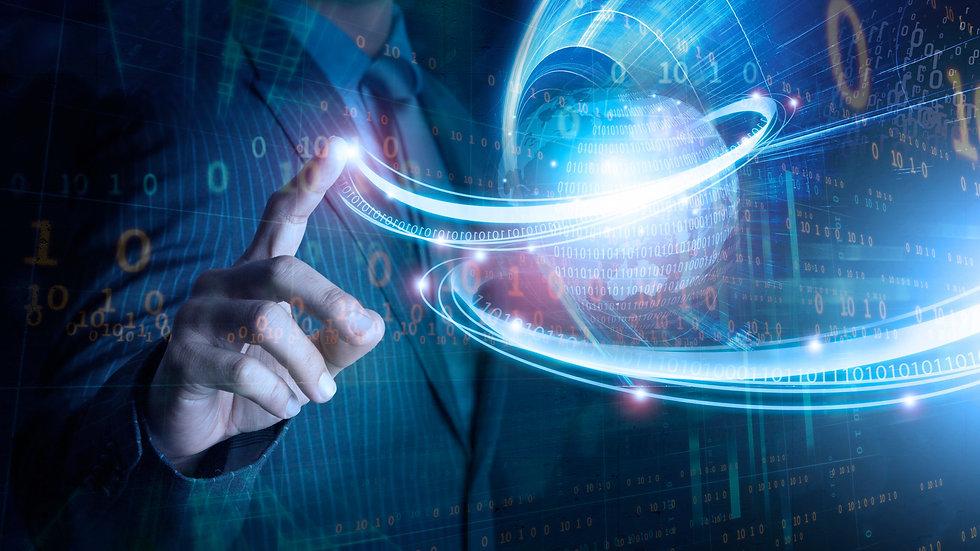 Business man hand with data transformation from globe, , data transformation, big data, io