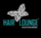HAIR LOUNGE SALON AND BARBER LOGO ON BLA