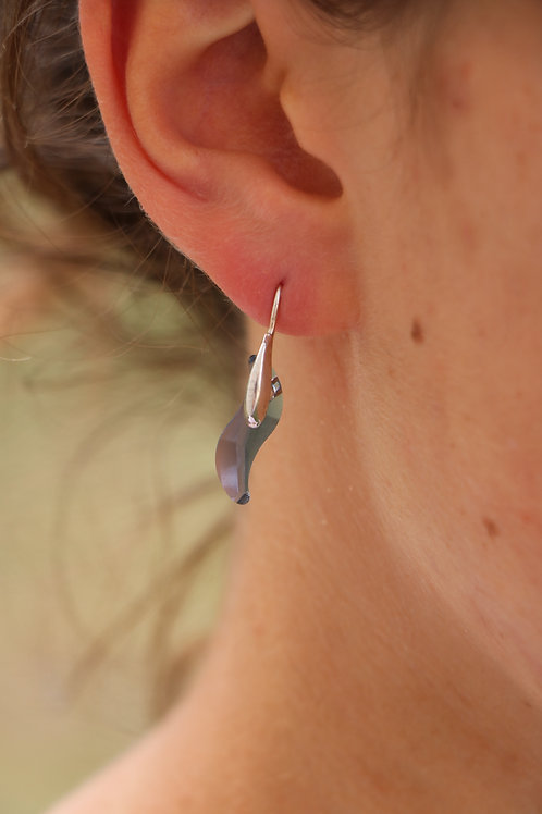 Boucles d'oreilles en argent et cristal bleu