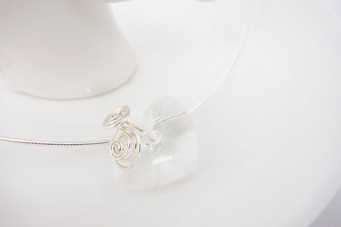 Collier coeur Swarovski transparent