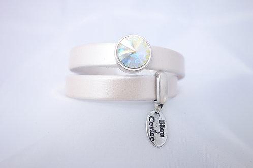 Bracelet cuir crème nacré et cristal