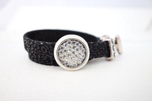 Bracelet cuir effet panthère et pavé de cristal