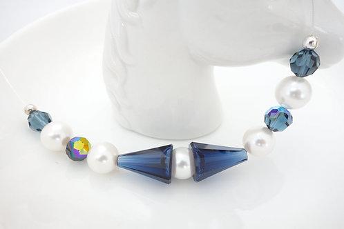 Tour du cou blanc et cristal Swarovski bleu