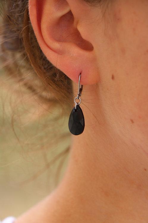 Boucles d'oreilles gouttes en cristal noir