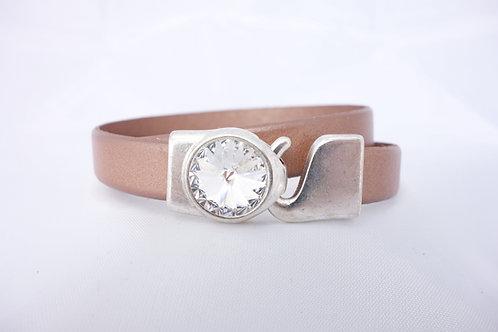 Bracelet cuir double doré rose et cristal