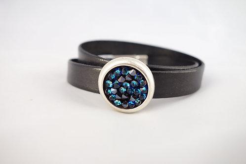 Bracelet cuir noir et pavé de cristal bleu