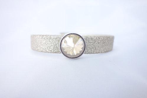 Bracelet cuir mordoré et cristal rond doré
