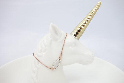 Bracelet en argent 925 doré rose et nuage