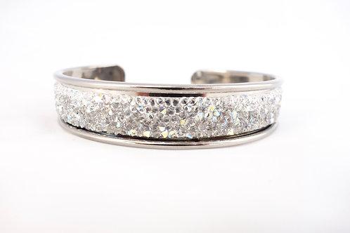 Bracelet jonc argenté Swarovski argenté à reflets